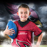 Spring Hill NFL Flag Football Player holding ball